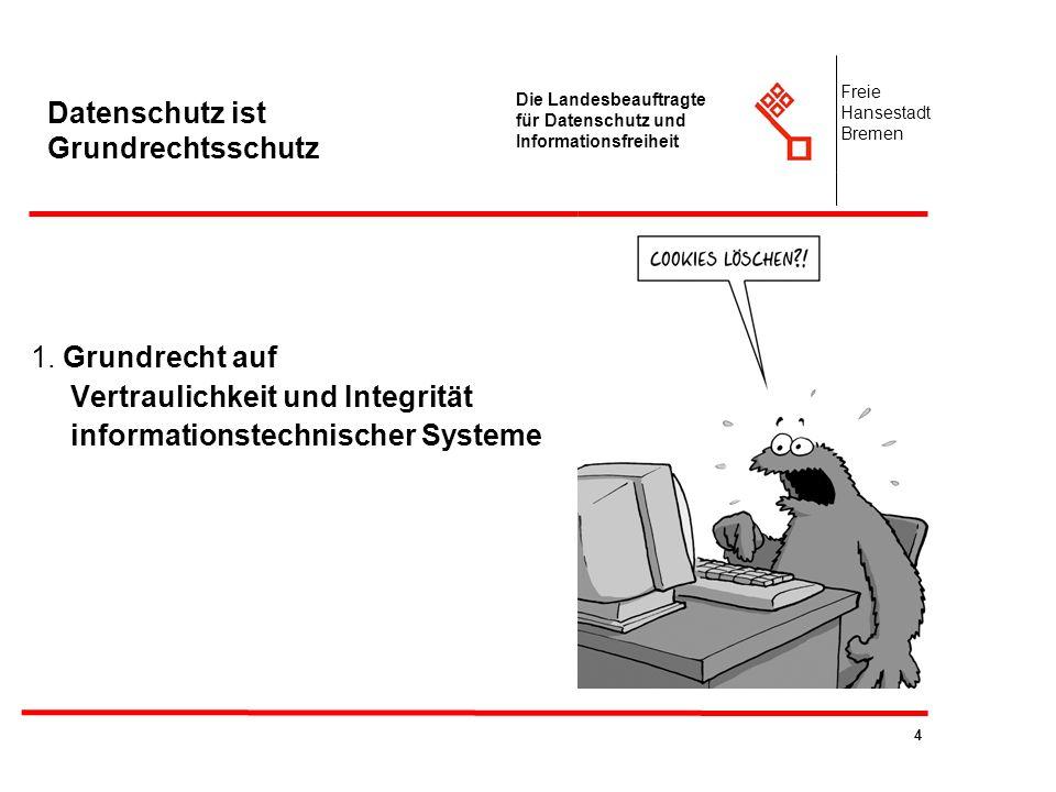 4 Die Landesbeauftragte für Datenschutz und Informationsfreiheit Freie Hansestadt Bremen Datenschutz ist Grundrechtsschutz 1. Grundrecht auf Vertrauli