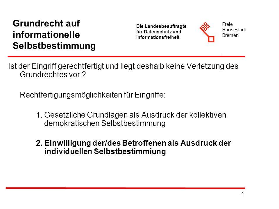 9 Die Landesbeauftragte für Datenschutz und Informationsfreiheit Freie Hansestadt Bremen Grundrecht auf informationelle Selbstbestimmung Ist der Eingr