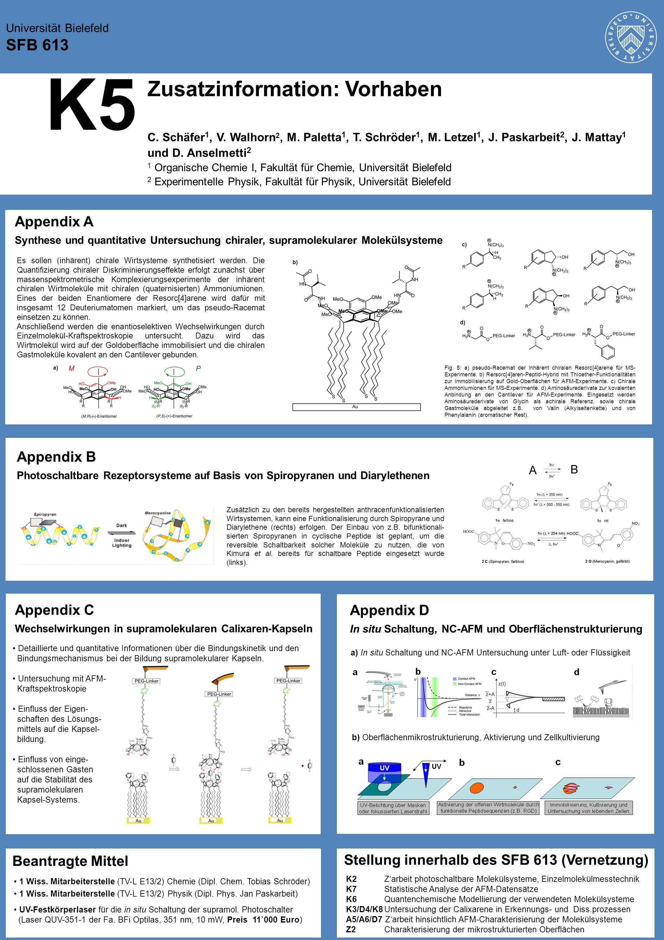 K5 Zusatzinformation: Vorhaben Universität Bielefeld SFB 613 C. Schäfer 1, V. Walhorn 2, M. Paletta 1, T. Schröder 1, M. Letzel 1, J. Paskarbeit 2, J.
