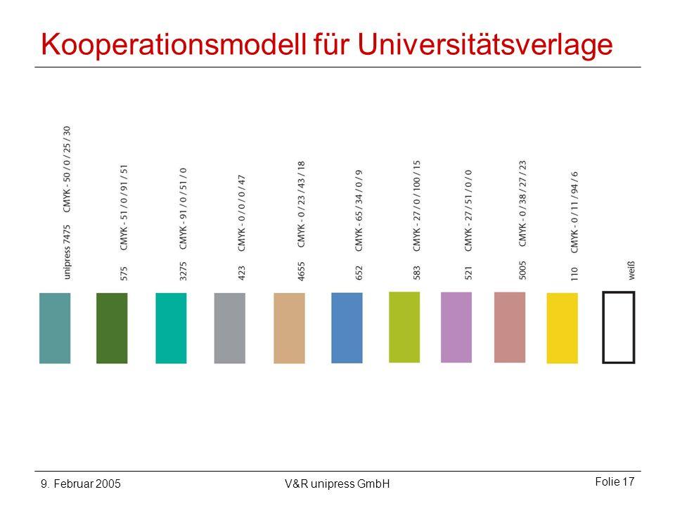 9. Februar 2005V&R unipress GmbH Folie 17 Kooperationsmodell für Universitätsverlage