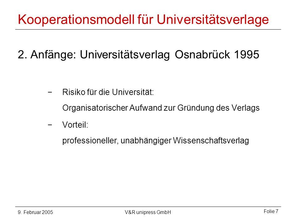 9. Februar 2005V&R unipress GmbH Folie 7 Kooperationsmodell für Universitätsverlage 2.