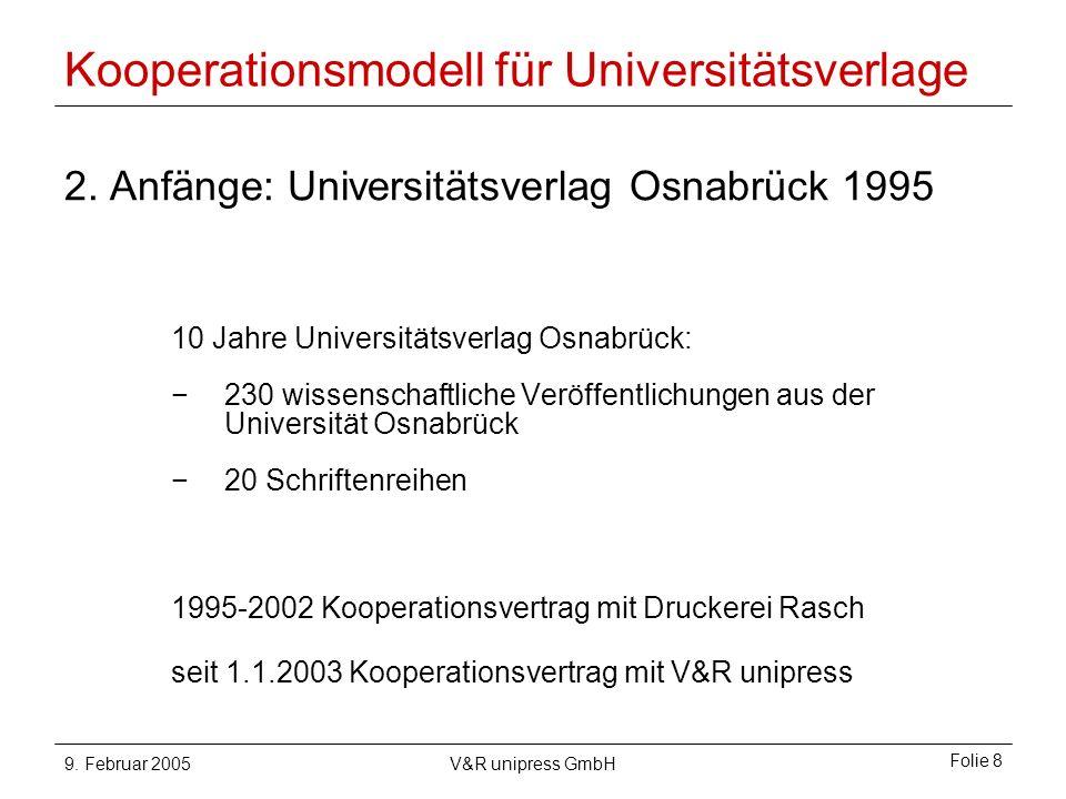 9. Februar 2005V&R unipress GmbH Folie 8 Kooperationsmodell für Universitätsverlage 2.