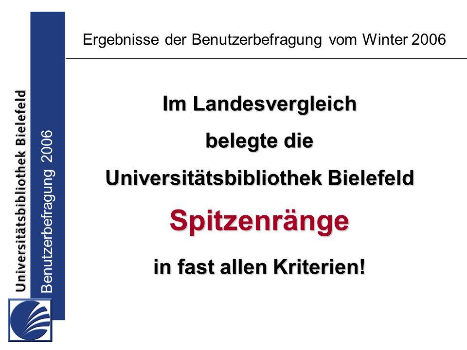 Benutzerbefragung 2006 Ergebnisse der Benutzerbefragung vom Winter 2006 Im Landesvergleich belegte die Universitätsbibliothek Bielefeld Spitzenränge in fast allen Kriterien!