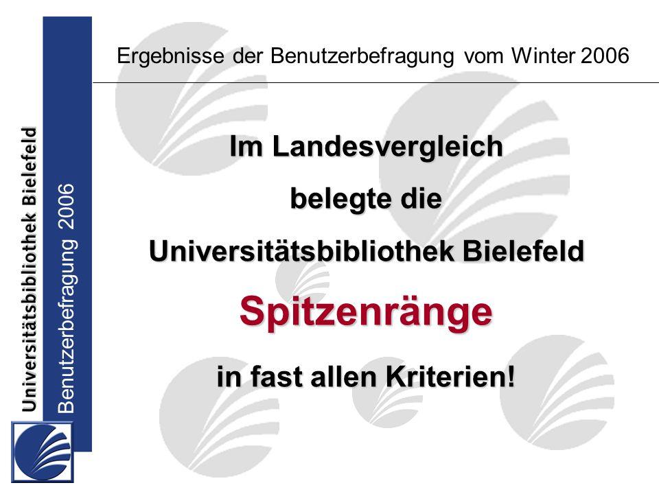 Benutzerbefragung 2006 Im Landesvergleich belegte die Universitätsbibliothek Bielefeld Spitzenränge in fast allen Kriterien.