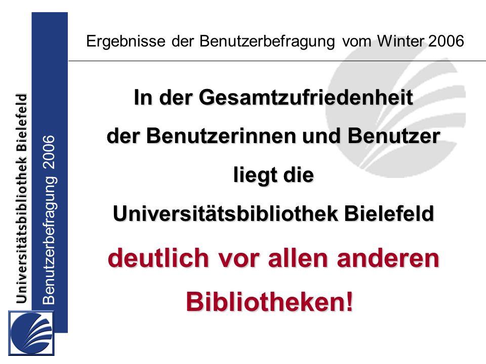 Benutzerbefragung 2006 Ergebnisse der Benutzerbefragung vom Winter 2006 In der Gesamtzufriedenheit der Benutzerinnen und Benutzer liegt die Universitätsbibliothek Bielefeld deutlich vor allen anderen Bibliotheken!