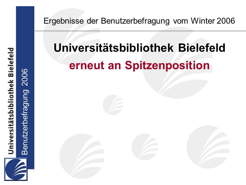 Benutzerbefragung 2006 Ergebnisse der Benutzerbefragung vom Winter 2006 Universitätsbibliothek Bielefeld erneut an Spitzenposition in der Zufriedenheit