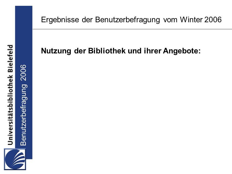 Benutzerbefragung 2006 Ergebnisse der Benutzerbefragung vom Winter 2006 Nutzung der Bibliothek und ihrer Angebote: