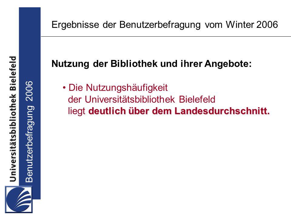 Benutzerbefragung 2006 Ergebnisse der Benutzerbefragung vom Winter 2006 Nutzung der Bibliothek und ihrer Angebote: Die Nutzungshäufigkeit der Universitätsbibliothek Bielefeld deutlich über dem Landesdurchschnitt.