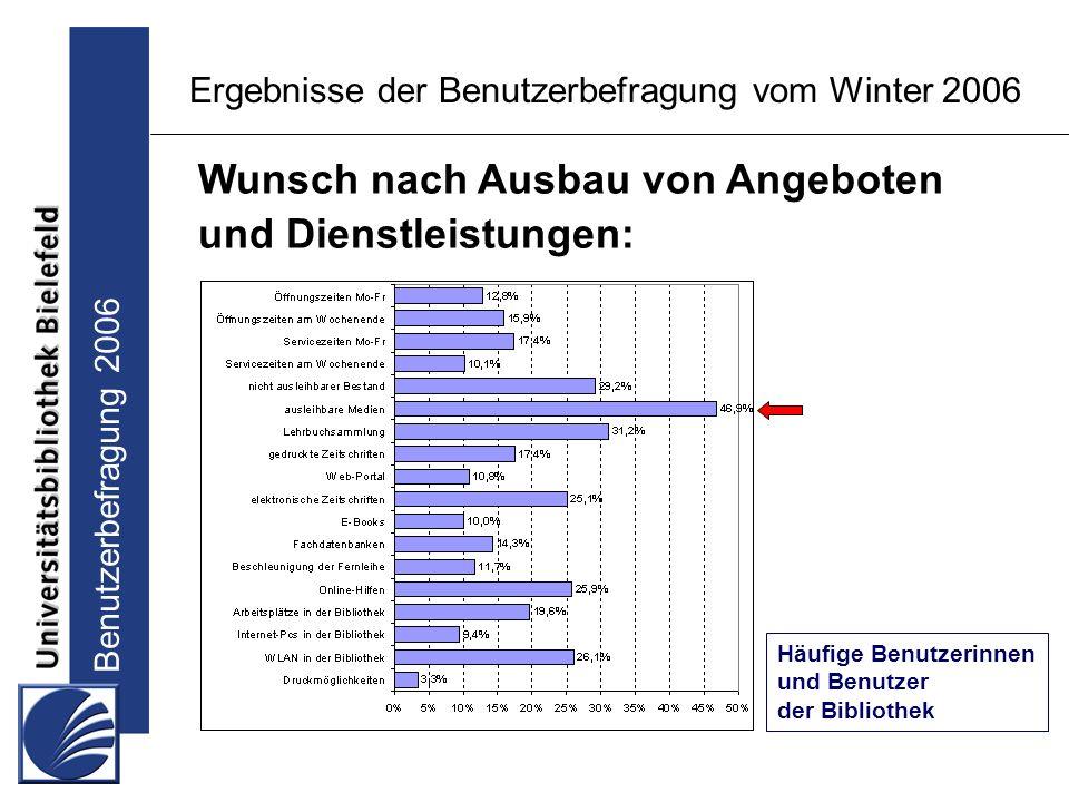 Benutzerbefragung 2006 Ergebnisse der Benutzerbefragung vom Winter 2006 Wunsch nach Ausbau von Angeboten und Dienstleistungen: Häufige Benutzerinnen und Benutzer der Bibliothek