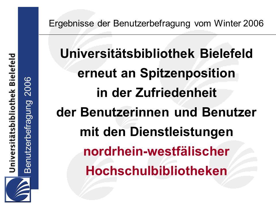 Benutzerbefragung 2006 Ergebnisse der Benutzerbefragung vom Winter 2006 Wunsch nach Ausbau von Angeboten und Dienstleistungen: Studierende im Hauptstudium ausleihbare Medien (1) Lehrbuchsammlung (2)