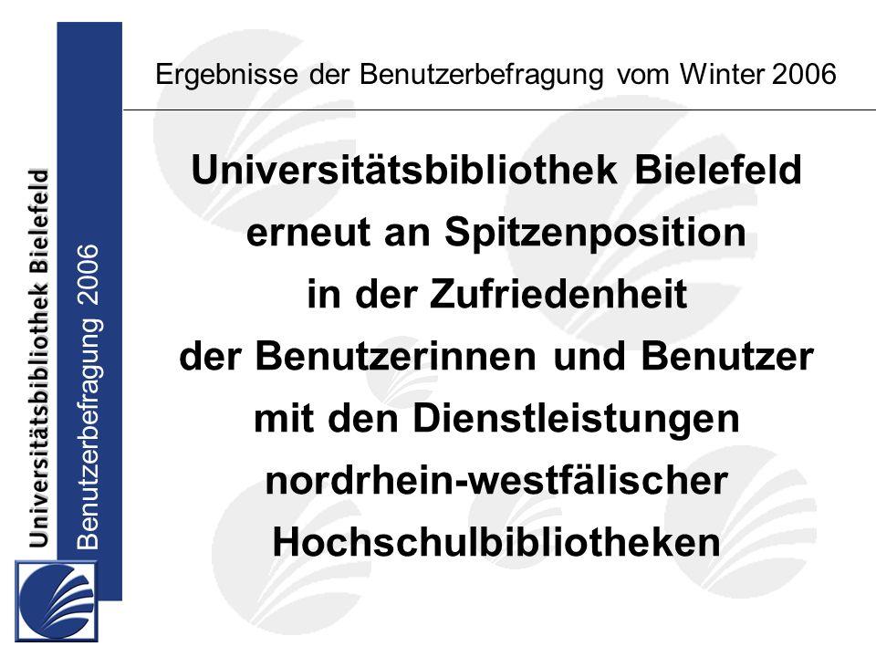 Benutzerbefragung 2006 Ergebnisse der Benutzerbefragung vom Winter 2006 Zufriedenheit mit dem Arbeitsumfeld: