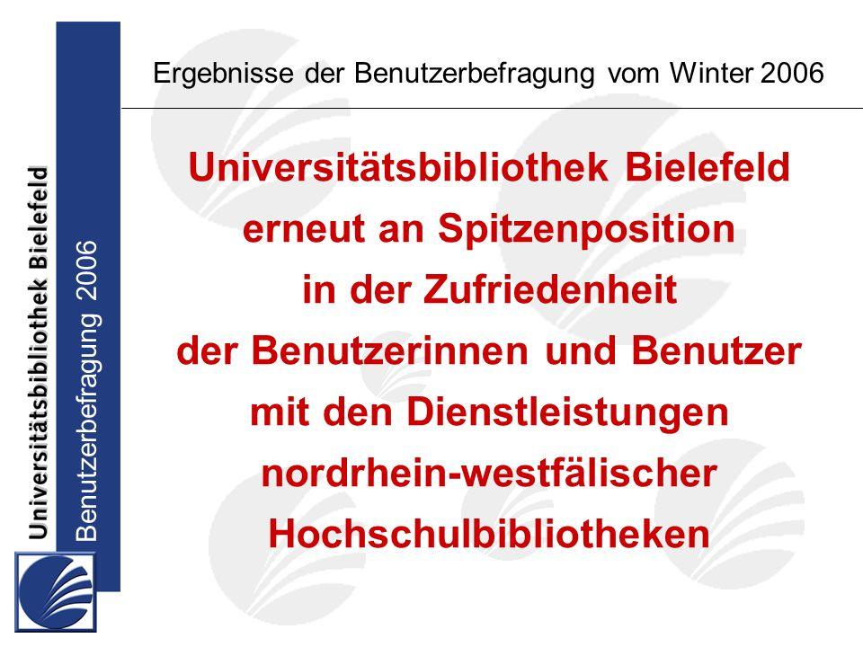 Benutzerbefragung 2006 Ergebnisse der Benutzerbefragung vom Winter 2006 Universitätsbibliothek Bielefeld erneut an Spitzenposition in der Zufriedenheit der Benutzerinnen und Benutzer mit den Dienstleistungen nordrhein-westfälischer Hochschulbibliotheken