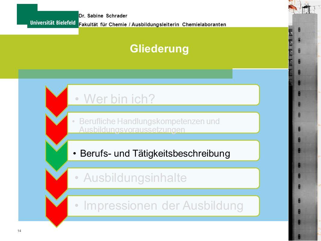 14 Dr. Sabine Schrader Fakultät für Chemie / Ausbildungsleiterin Chemielaboranten Gliederung Wer bin ich? Berufliche Handlungskompetenzen und Ausbildu