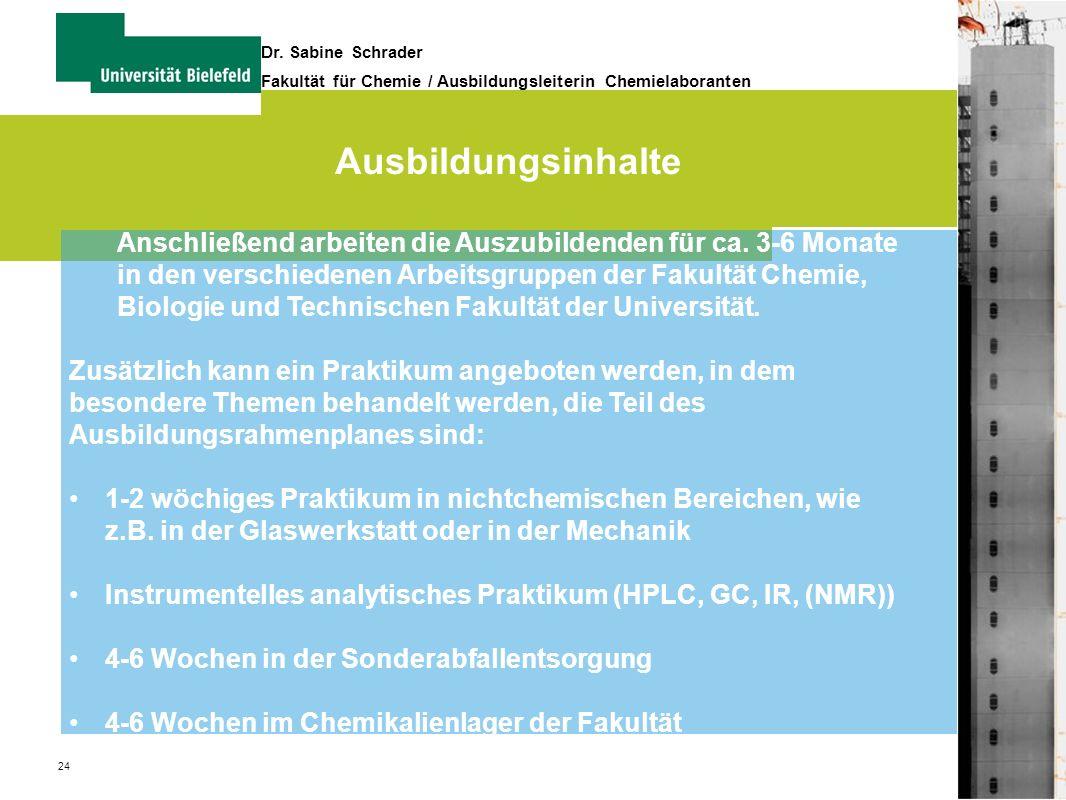 24 Dr. Sabine Schrader Fakultät für Chemie / Ausbildungsleiterin Chemielaboranten Ausbildungsinhalte Anschließend arbeiten die Auszubildenden für ca.