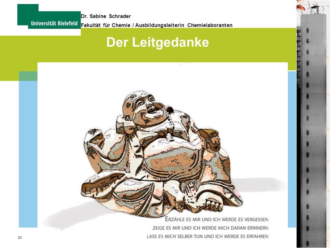 26 Dr. Sabine Schrader Fakultät für Chemie / Ausbildungsleiterin Chemielaboranten Der Leitgedanke
