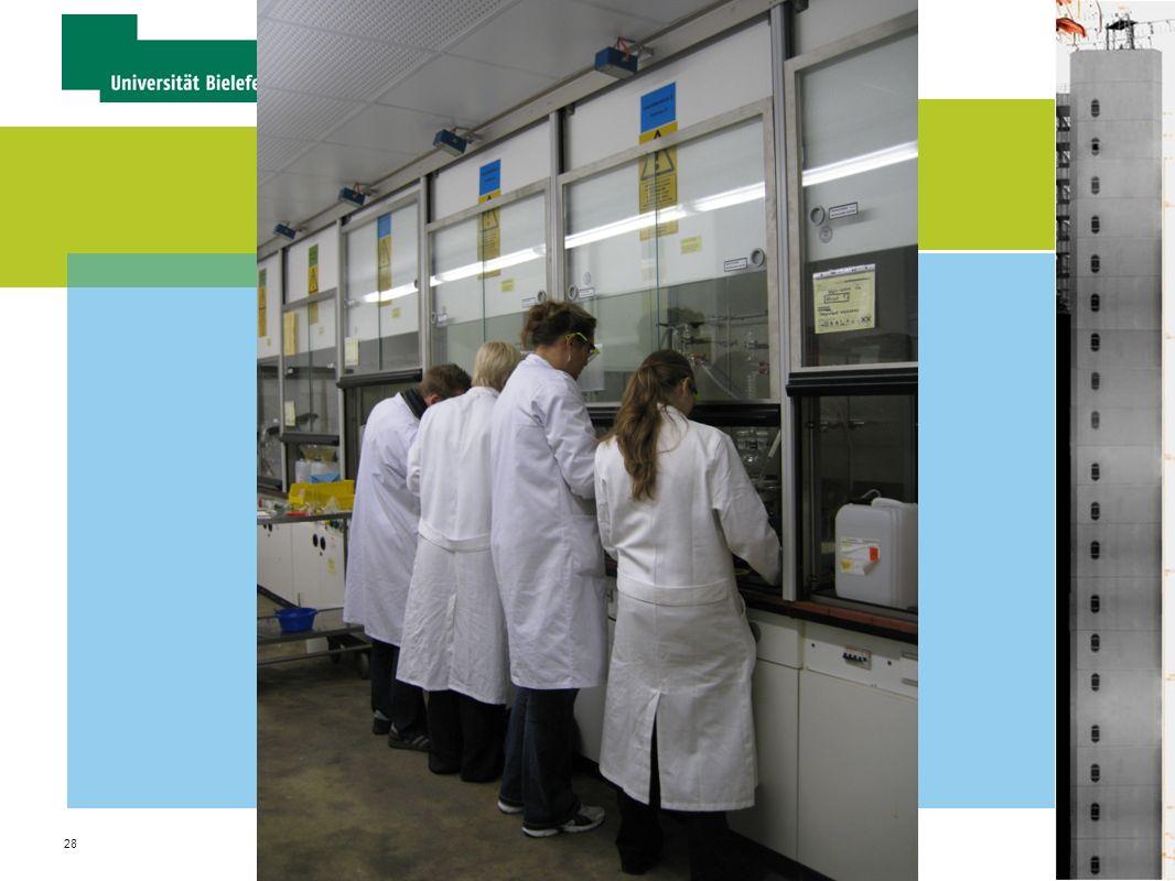 28 Dr. Sabine Schrader Fakultät für Chemie / Ausbildungsleiterin Chemielaboranten Organisation und Verwaltung von Praktika