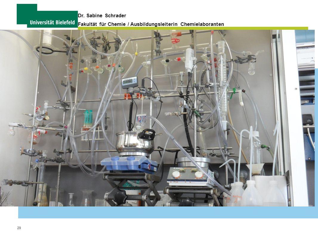 29 Dr. Sabine Schrader Fakultät für Chemie / Ausbildungsleiterin Chemielaboranten Organisation und Verwaltung von Praktika
