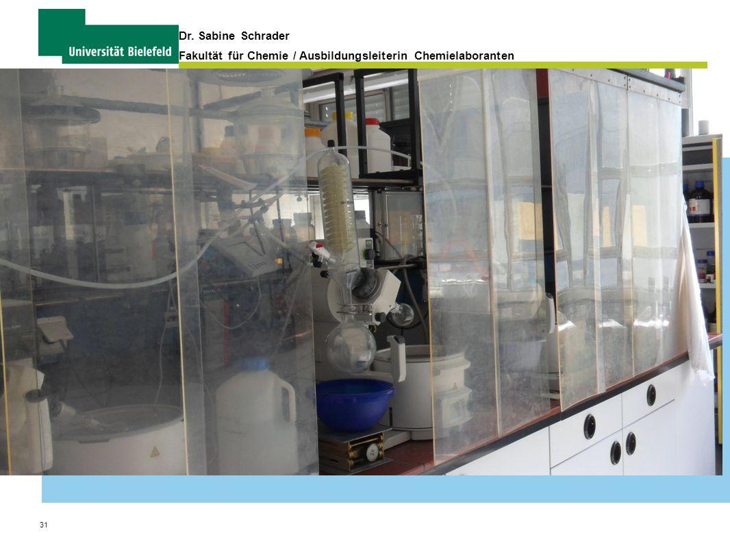 31 Dr. Sabine Schrader Fakultät für Chemie / Ausbildungsleiterin Chemielaboranten Organisation und Verwaltung von Praktika