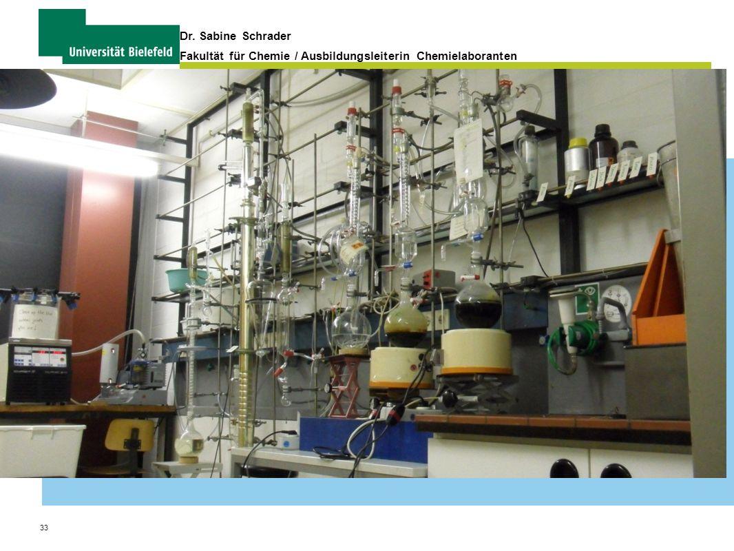 33 Dr. Sabine Schrader Fakultät für Chemie / Ausbildungsleiterin Chemielaboranten Organisation und Verwaltung von Praktika