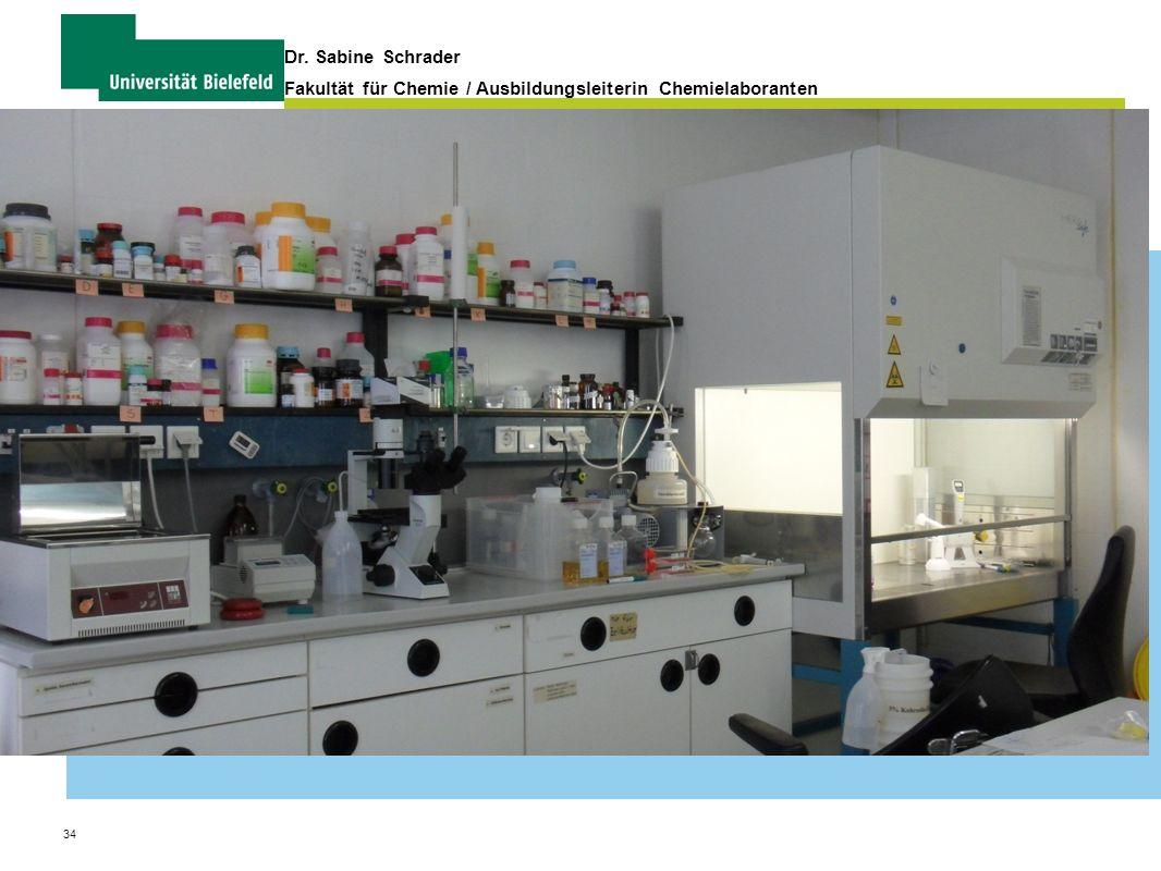 34 Dr. Sabine Schrader Fakultät für Chemie / Ausbildungsleiterin Chemielaboranten Organisation und Verwaltung von Praktika
