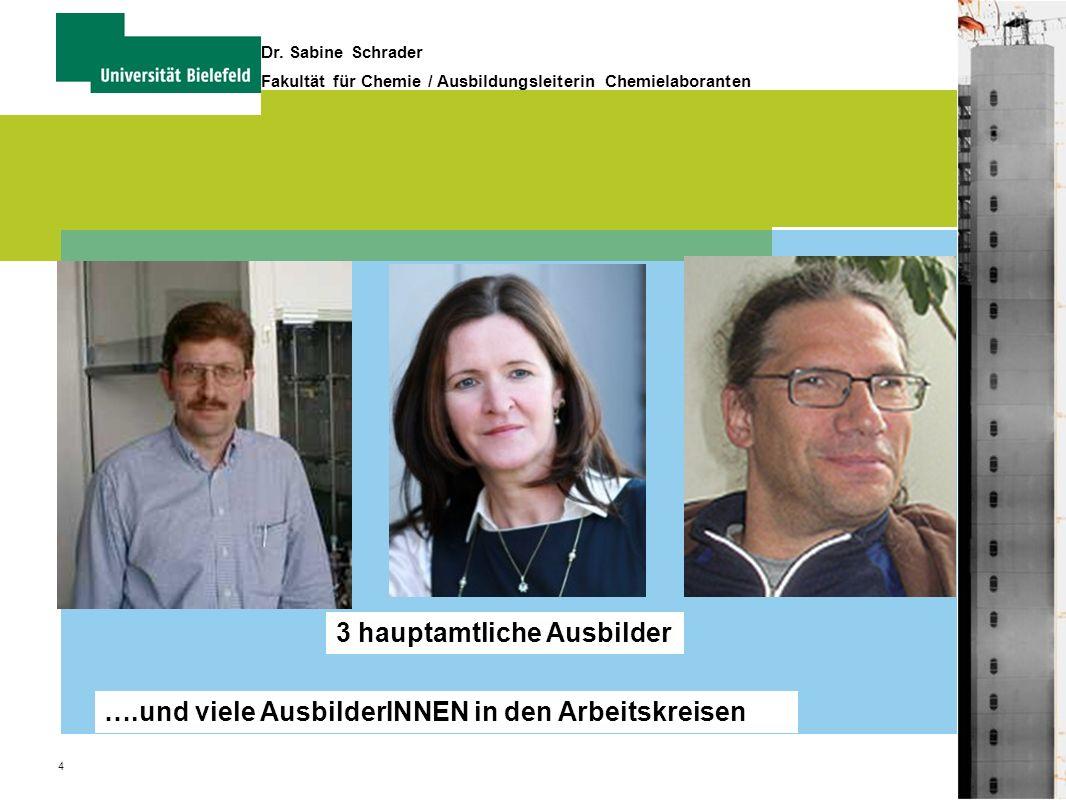 4 Dr. Sabine Schrader Fakultät für Chemie / Ausbildungsleiterin Chemielaboranten 3 hauptamtliche Ausbilder ….und viele AusbilderINNEN in den Arbeitskr