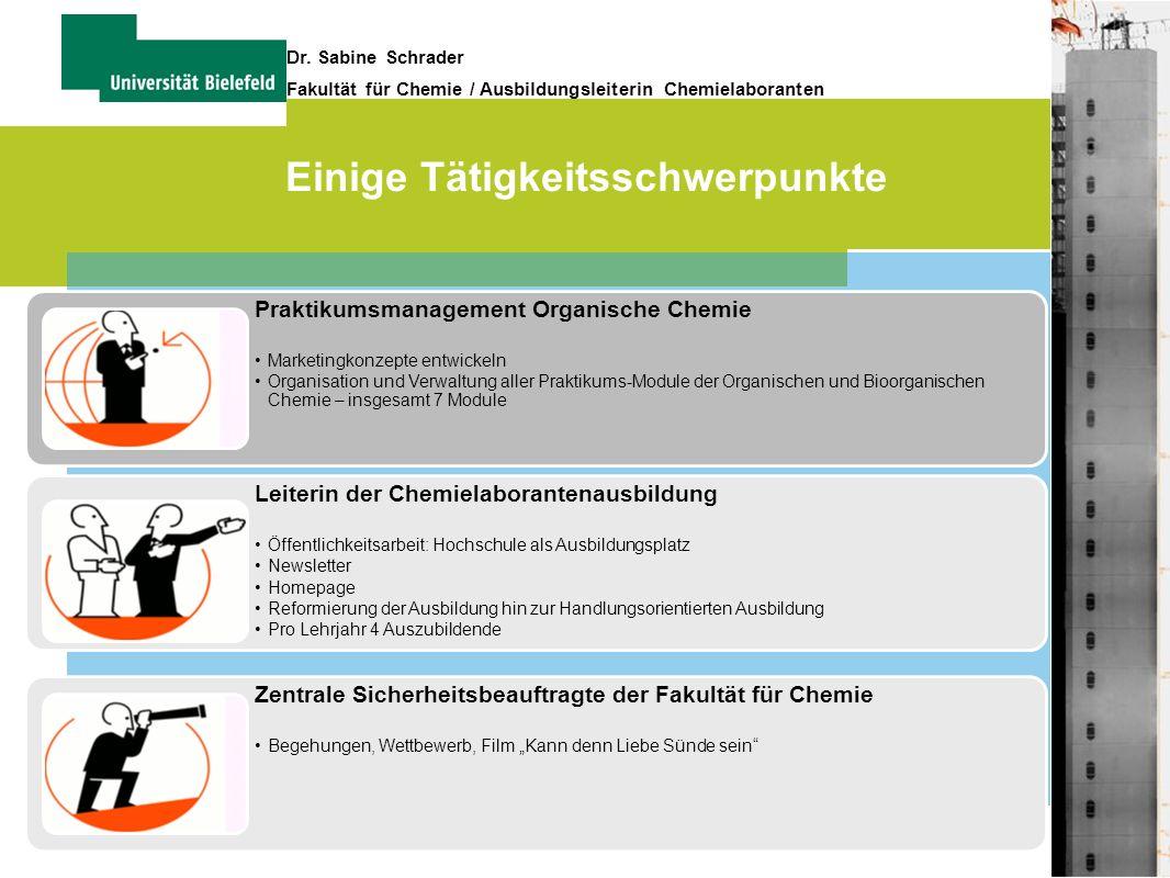 6 Dr. Sabine Schrader Fakultät für Chemie / Ausbildungsleiterin Chemielaboranten Einige Tätigkeitsschwerpunkte Praktikumsmanagement Organische Chemie