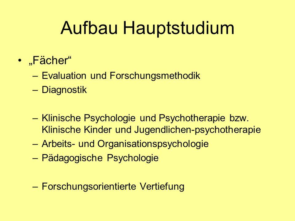 Aufbau Hauptstudium Fächer –Evaluation und Forschungsmethodik –Diagnostik –Klinische Psychologie und Psychotherapie bzw. Klinische Kinder und Jugendli