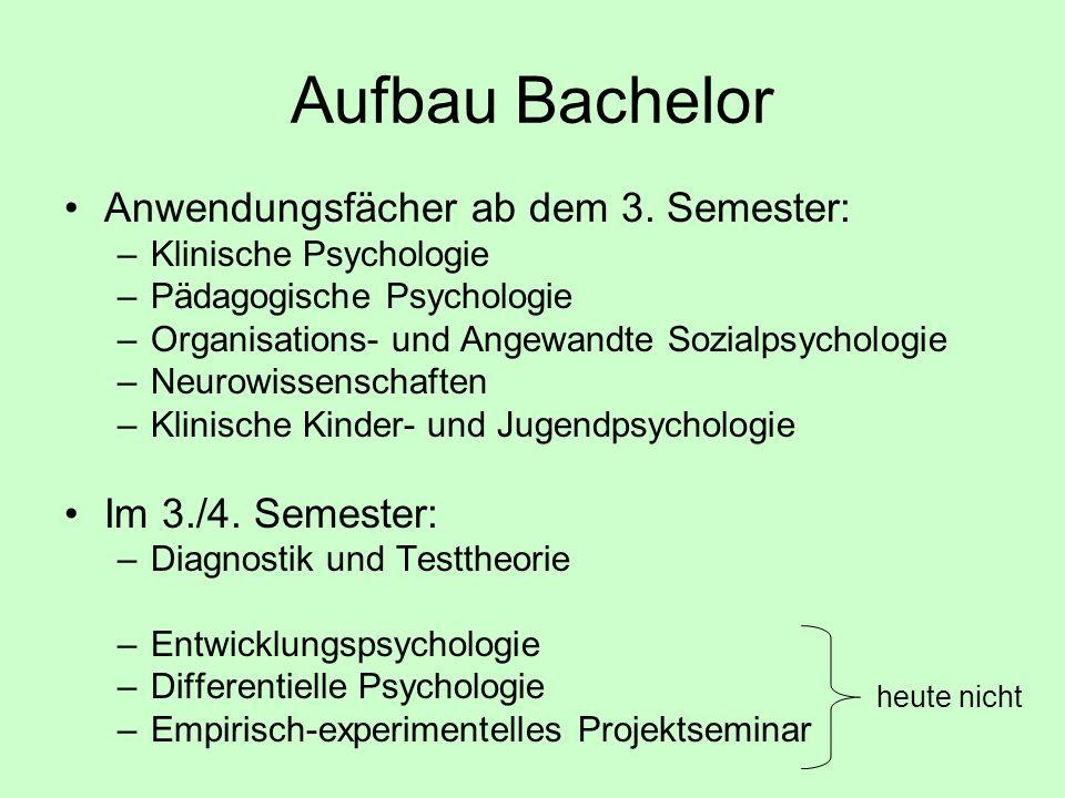 Aufbau Bachelor Anwendungsfächer ab dem 3. Semester: –Klinische Psychologie –Pädagogische Psychologie –Organisations- und Angewandte Sozialpsychologie
