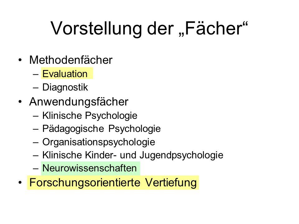 Vorstellung der Fächer Methodenfächer –Evaluation –Diagnostik Anwendungsfächer –Klinische Psychologie –Pädagogische Psychologie –Organisationspsycholo
