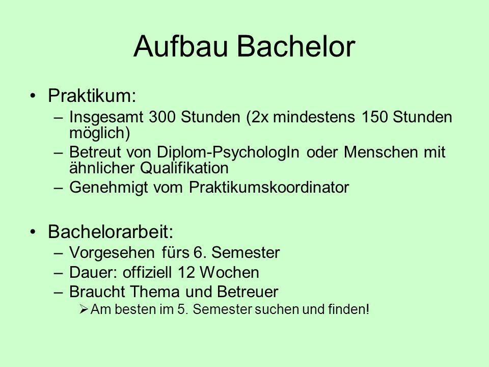 Aufbau Bachelor Praktikum: –Insgesamt 300 Stunden (2x mindestens 150 Stunden möglich) –Betreut von Diplom-PsychologIn oder Menschen mit ähnlicher Qual