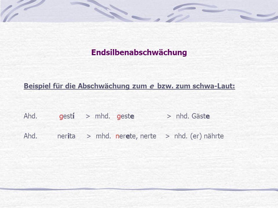Endsilbenabschwächung Beispiel für die Abschwächung zum e bzw. zum schwa-Laut: íe e Ahd. gestí > mhd. geste > nhd. Gäste ie Ahd. nerita > mhd. nerete,