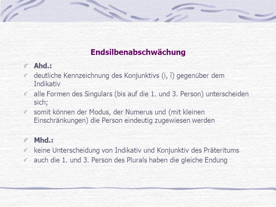 Endsilbenabschwächung Ahd.: deutliche Kennzeichnung des Konjunktivs (i, î) gegenüber dem Indikativ alle Formen des Singulars (bis auf die 1. und 3. Pe
