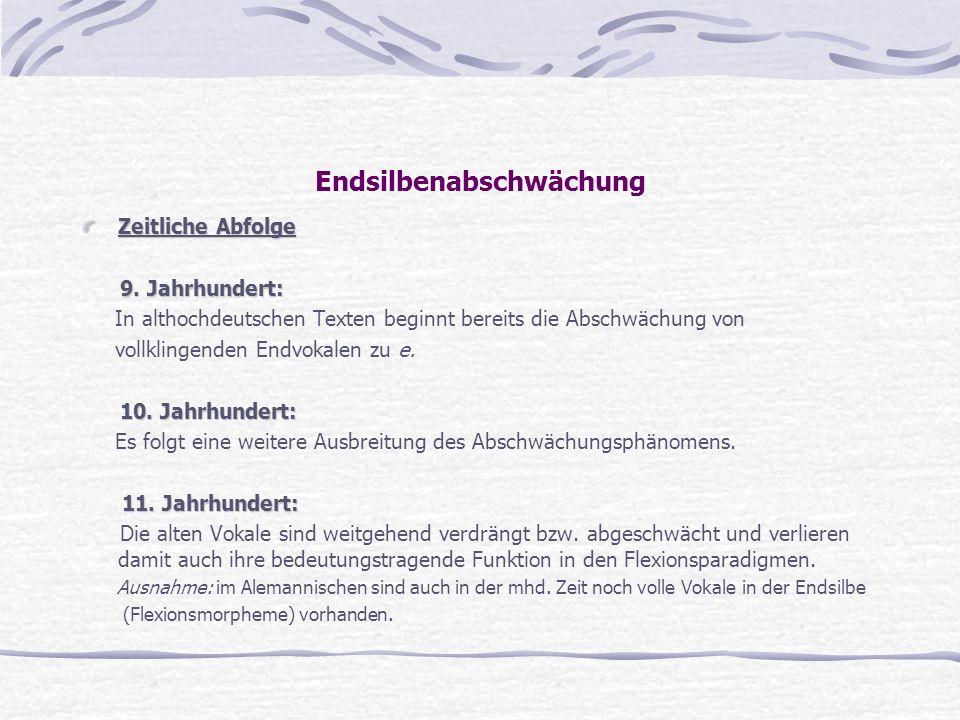 Endsilbenabschwächung Zeitliche Abfolge 9. Jahrhundert: 9. Jahrhundert: In althochdeutschen Texten beginnt bereits die Abschwächung von vollklingenden