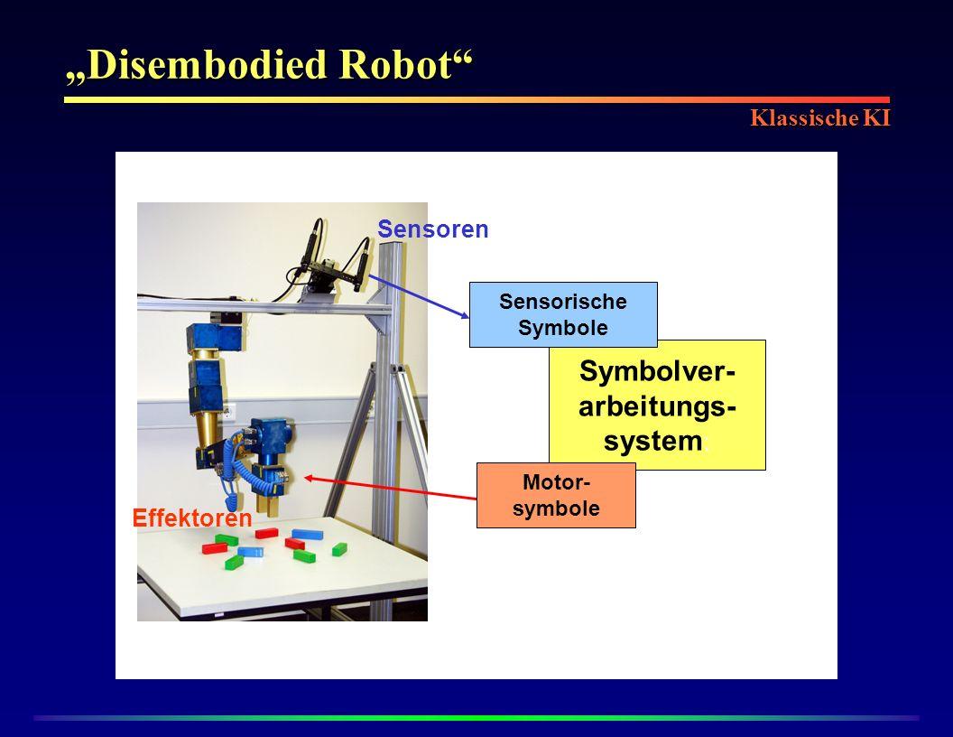 Disembodied Robot Symbolver- arbeitungs- system : Sensoren Sensorische Symbole Effektoren Motor- symbole Klassische KI