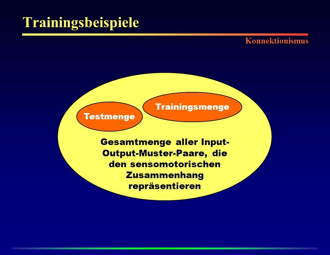 Trainingsbeispiele Gesamtmenge aller Input- Output-Muster-Paare, die den sensomotorischen Zusammenhang repräsentieren Trainingsmenge Testmenge Konnektionismus
