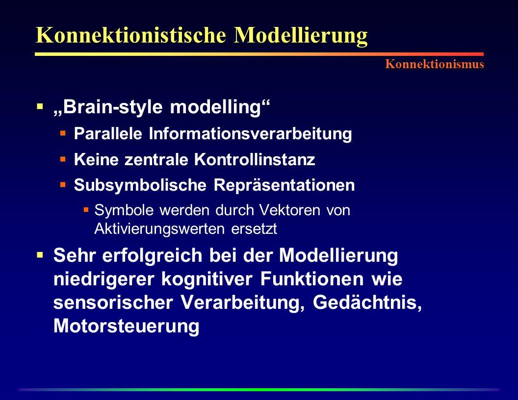 Konnektionistische Modellierung Brain-style modelling Parallele Informationsverarbeitung Keine zentrale Kontrollinstanz Subsymbolische Repräsentationen Symbole werden durch Vektoren von Aktivierungswerten ersetzt Sehr erfolgreich bei der Modellierung niedrigerer kognitiver Funktionen wie sensorischer Verarbeitung, Gedächtnis, Motorsteuerung Konnektionismus