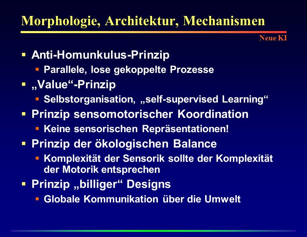 Morphologie, Architektur, Mechanismen Anti-Homunkulus-Prinzip Parallele, lose gekoppelte Prozesse Value-Prinzip Selbstorganisation, self-supervised Le