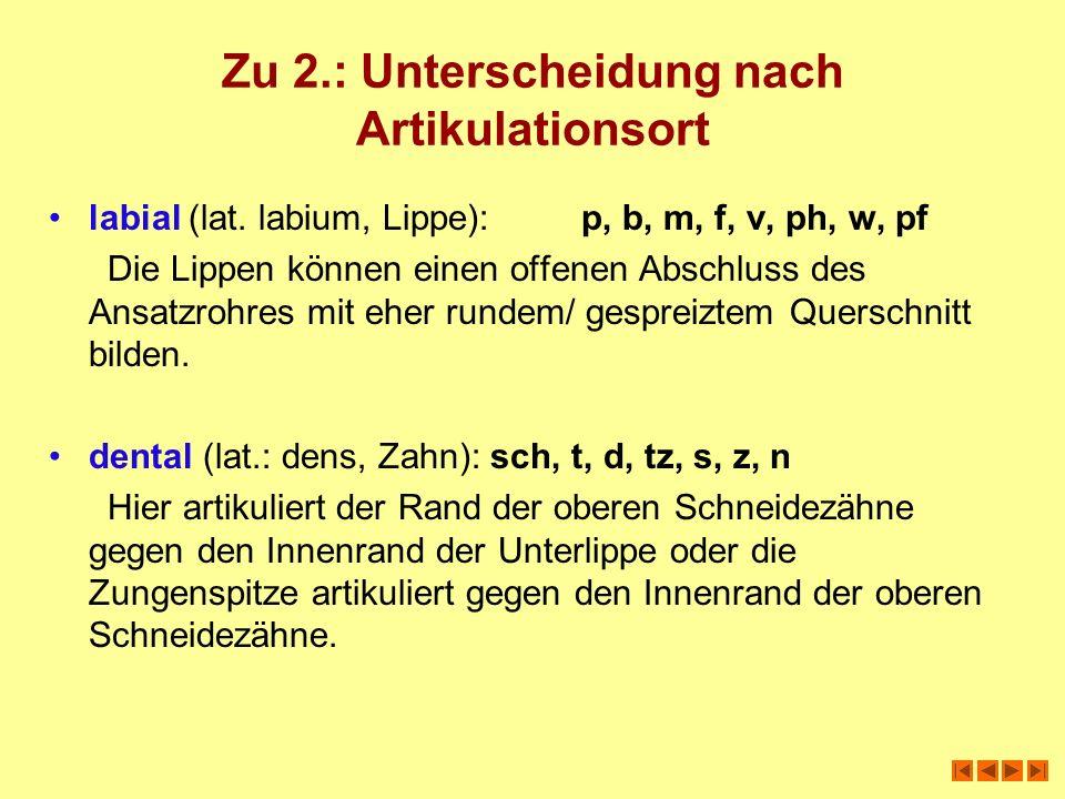 Zu 2.: Unterscheidung nach Artikulationsort labial (lat. labium, Lippe):p, b, m, f, v, ph, w, pf Die Lippen können einen offenen Abschluss des Ansatzr