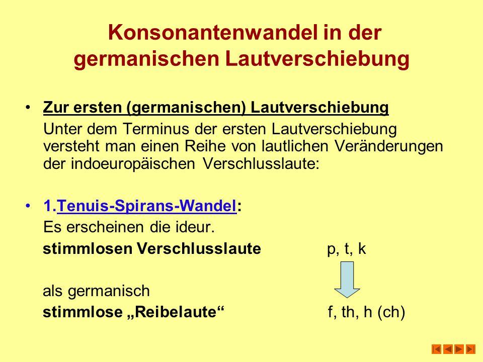 Konsonantenwandel in der germanischen Lautverschiebung Zur ersten (germanischen) Lautverschiebung Unter dem Terminus der ersten Lautverschiebung verst