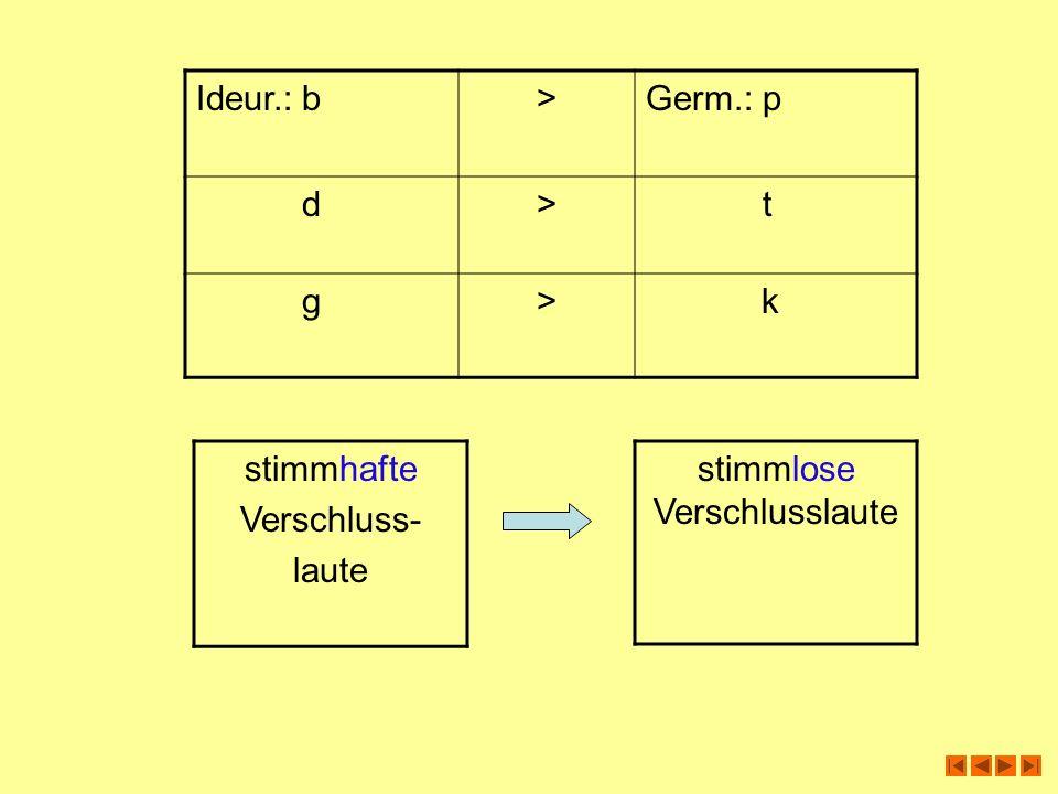 Ideur.:b>Germ.: p d> t g> k stimmhafte Verschluss- laute stimmlose Verschlusslaute