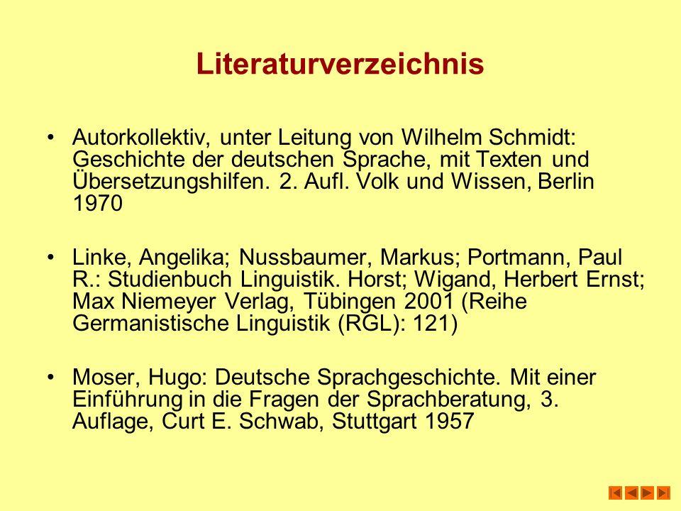Literaturverzeichnis Autorkollektiv, unter Leitung von Wilhelm Schmidt: Geschichte der deutschen Sprache, mit Texten und Übersetzungshilfen. 2. Aufl.