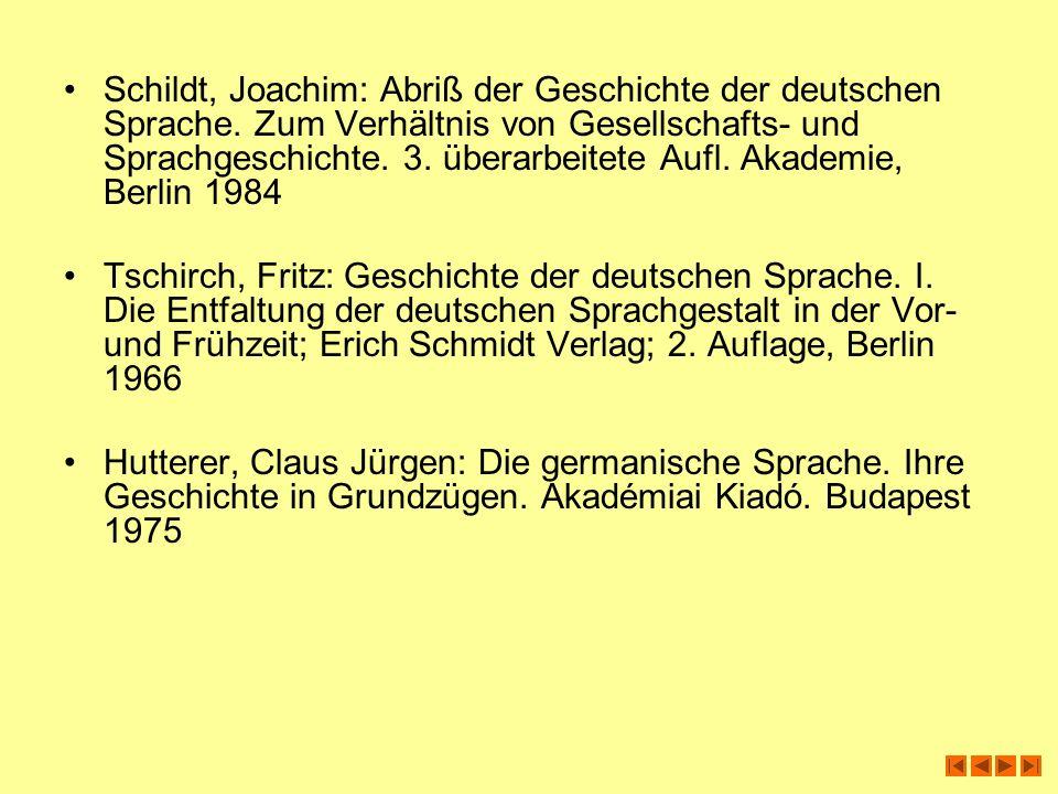 Schildt, Joachim: Abriß der Geschichte der deutschen Sprache. Zum Verhältnis von Gesellschafts- und Sprachgeschichte. 3. überarbeitete Aufl. Akademie,