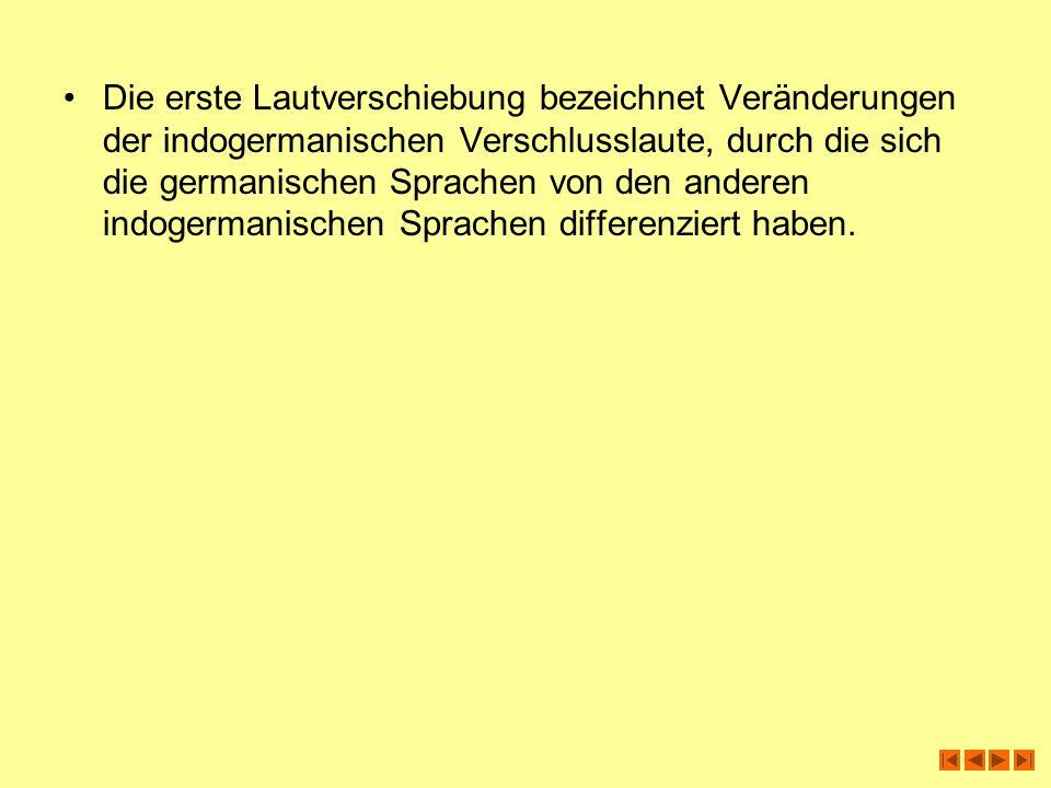 Konsonantenwandel in der germanischen Lautverschiebung Zur ersten (germanischen) Lautverschiebung Unter dem Terminus der ersten Lautverschiebung versteht man einen Reihe von lautlichen Veränderungen der indoeuropäischen Verschlusslaute: 1.Tenuis-Spirans-Wandel: Es erscheinen die ideur.