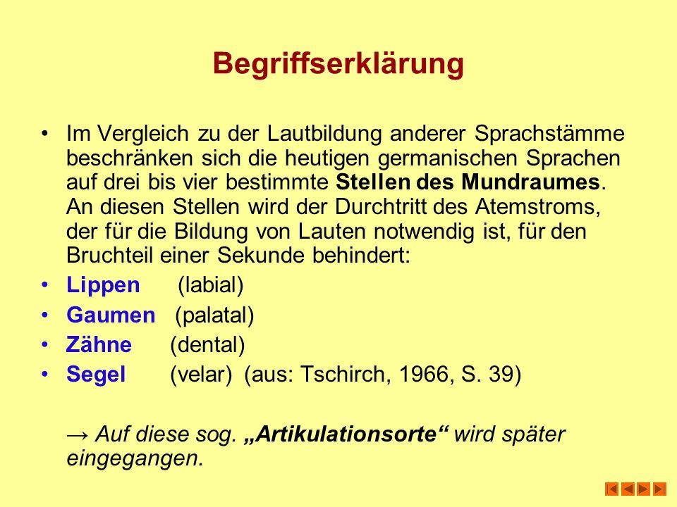 Begriffserklärung Im Vergleich zu der Lautbildung anderer Sprachstämme beschränken sich die heutigen germanischen Sprachen auf drei bis vier bestimmte