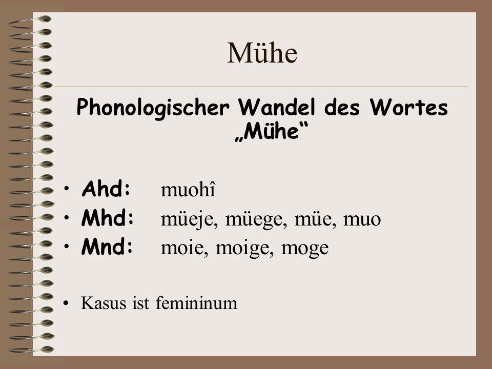Mühe Phonologischer Wandel des Wortes Mühe Ahd: muohî Mhd: müeje, müege, müe, muo Mnd: moie, moige, moge Kasus ist femininum