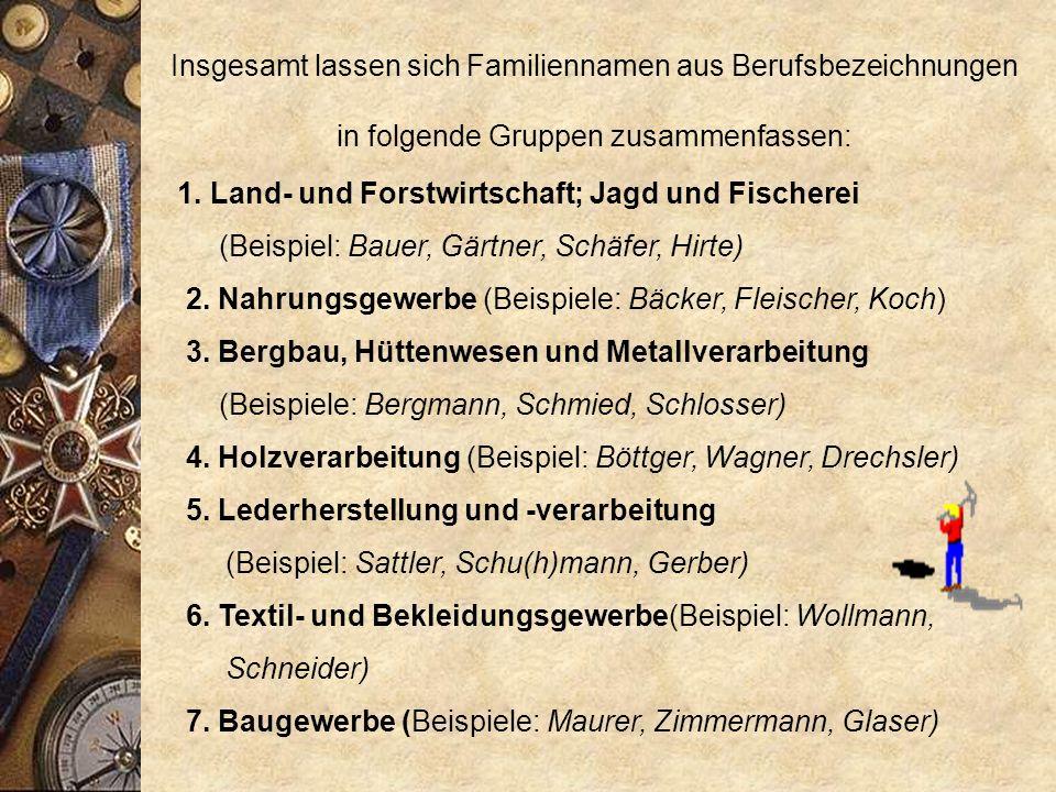 Die häufigsten deutschen Familiennamen sind benannt nach den Berufen der jeweiligen Personen. Die Namen Müller, Schmidt, Meyer, Schneider, Hofmann und