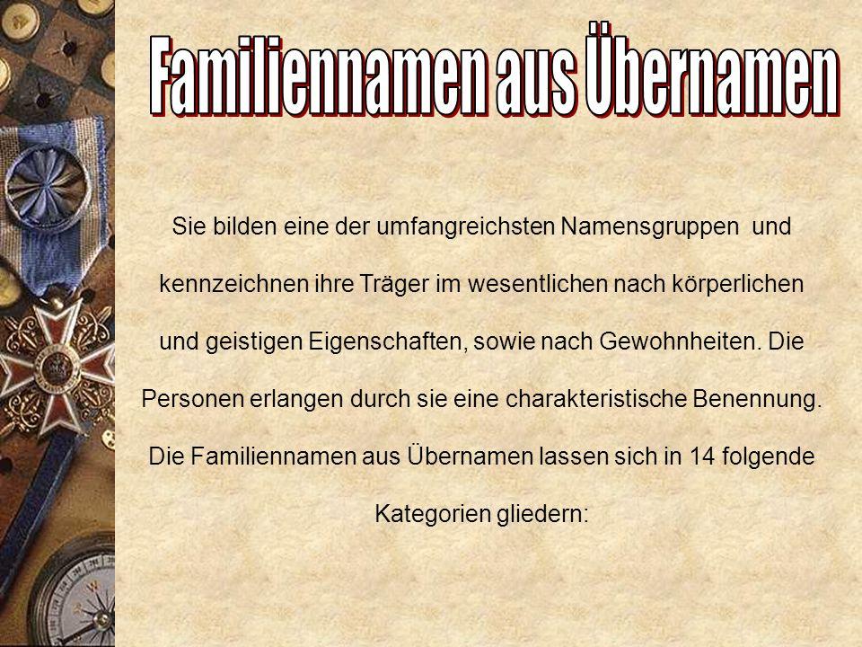 8. Gesundheitswesen, Schönheitspflege (Beispiele: Bader, Badstübner) 9. Handel und Verkehr (Beispiele: Kaufmann, Krüger, Wirth, Fehrmann) 10. Städtisc