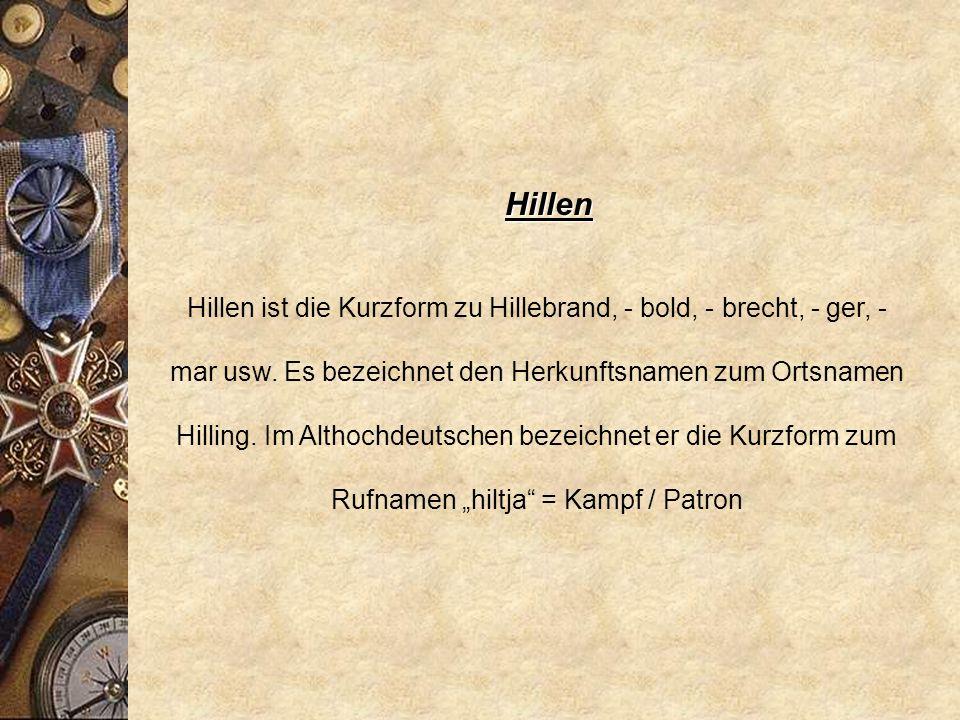 Hillebrand * 798 Hildibrand * vor 1257 Hilde- / Hillebrand * 1304 Hellebrand Rufname, althochdeutsch hiltja + brant = Kampf + Schwert.