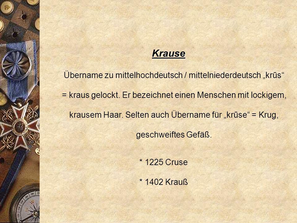 Klatt * 1450 / 51 Clatte Übername zu mittelniederdeutsch klatte = Fetzen, Lumpen, verwirrter Haarschopf. Folglich ist es eine Bezeichnung für einen he