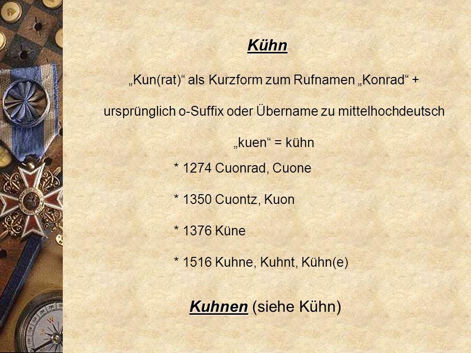 Kühlmann Wohnstättenname: der an der Grube (Kuhle) Wohnende.
